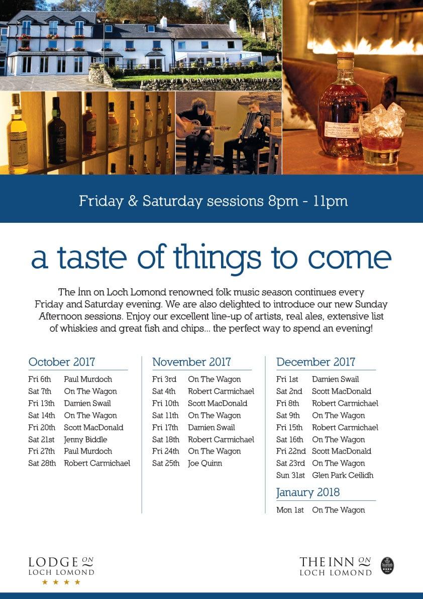 Inn Events Poster October to December 2017