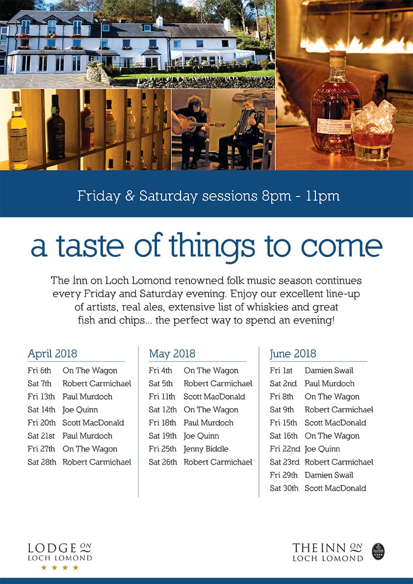 Inn on Loch Lomond April to June 2018 Events Calendar
